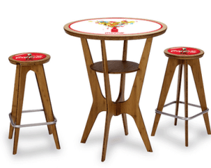 otm trade show table and chairs with printed inlays