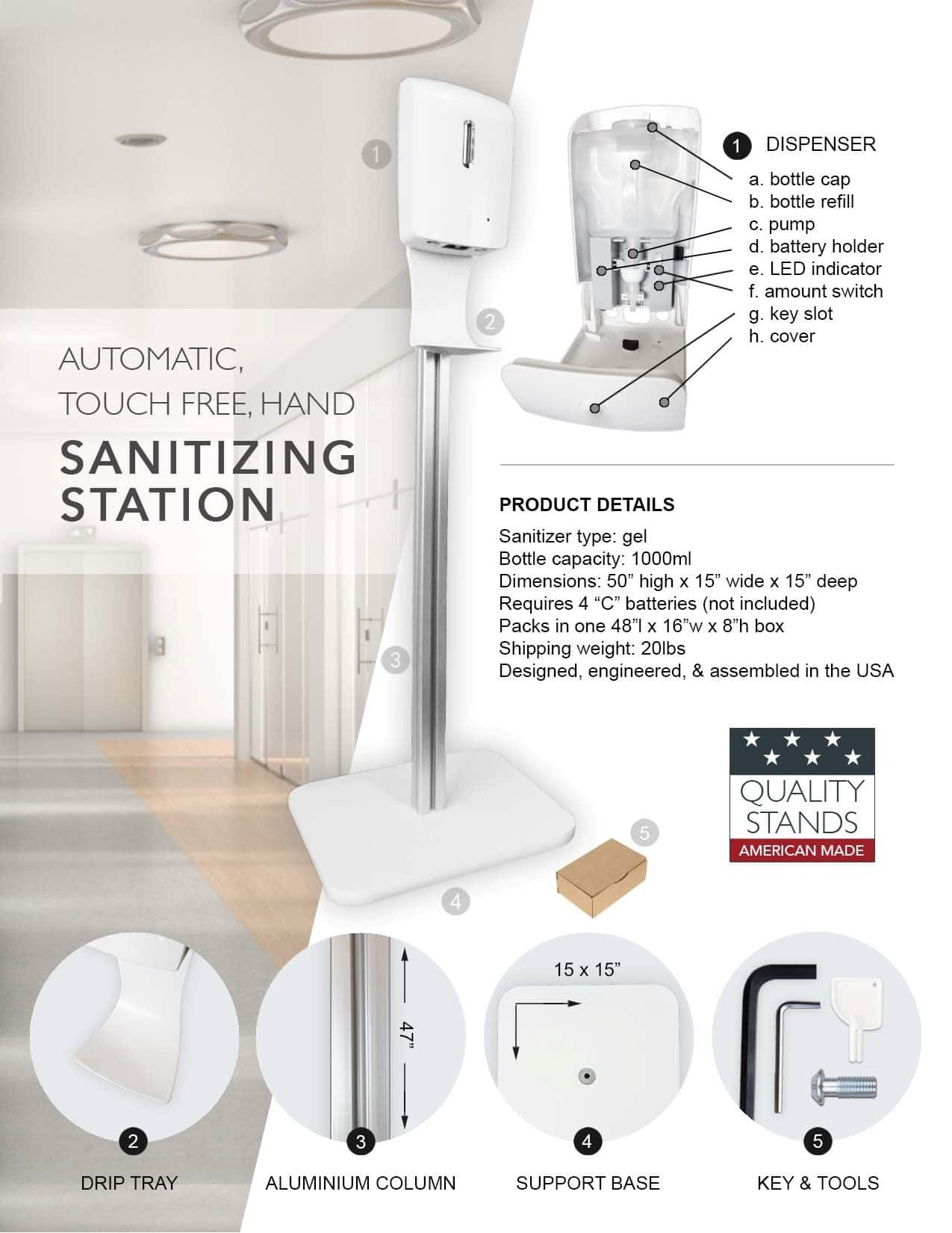 Touchless GEL Sanitizer Dispenser Stand