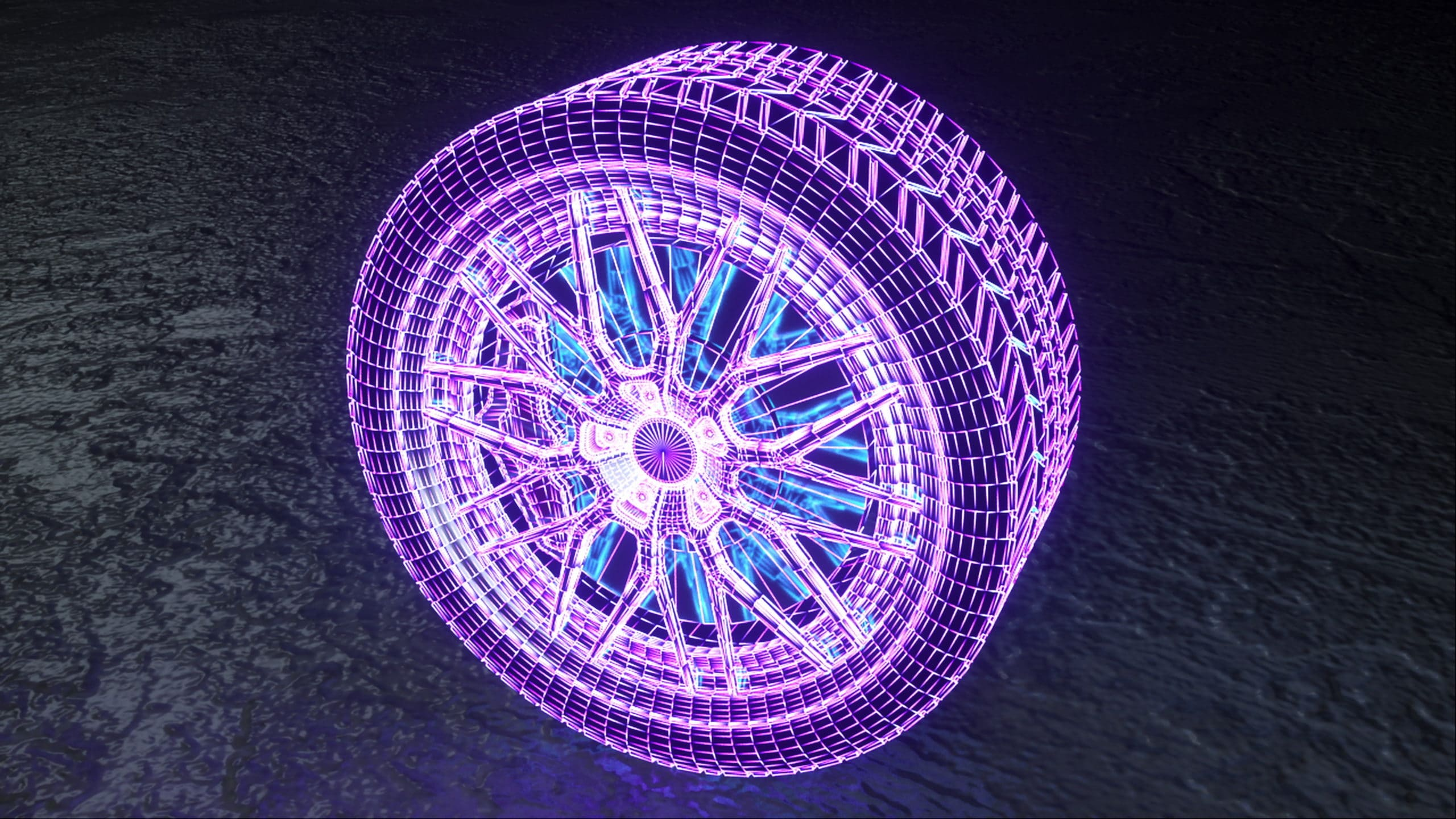 3D hologram of car tire as sales example for trade shows